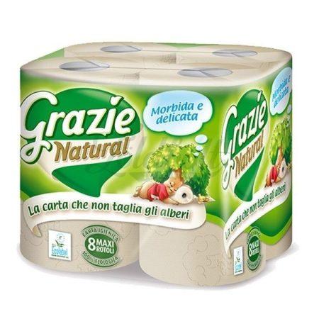 Grazie Natural 2 rétegű öko háztartási toalettpapír 8 tekercs