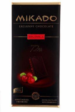 Mikado Exclusive Étcsokoládé vörösáfonyával 72% kakaótartalommal 100 g