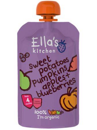 Ella's Kitchen Bio Édesburgonya-sütőtök-alma-áfonya bébiétel 120 g